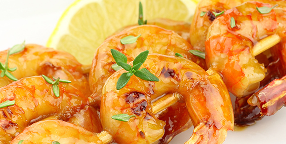 Juicy Barbecued Prawns with Dairygold and Lemon Sauce